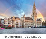 Brussels, rainbow over Grand Place, Belgium, nobody