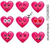 set of heart emoji isolated on...   Shutterstock .eps vector #712428082