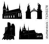 Silhouettes Of Famous Building...