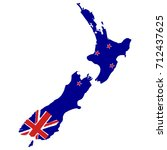 map of new zealand with flag.... | Shutterstock .eps vector #712437625