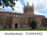 """Small photo of The twelfth century Crediton parish church in Devon, UK, formerly known as the """"Church of the Holy Cross and the Mother of Him who Hung Thereon"""", one of the more unusual church names found in the UK"""