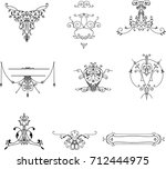 old vintage elements on white... | Shutterstock .eps vector #712444975