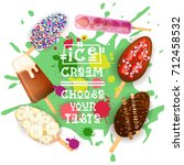 ice cream lolly set colorful... | Shutterstock .eps vector #712458532