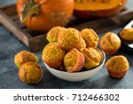 healthy pumpkin muffins  vegan... | Shutterstock . vector #712466302