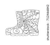 rubber boots in zentangle style.... | Shutterstock .eps vector #712466842