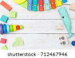 wooden cubes and a pyramid and... | Shutterstock . vector #712467946