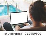 woman typing laptop keyboard... | Shutterstock . vector #712469902