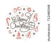 merry christmas white lettering ...   Shutterstock .eps vector #712480348