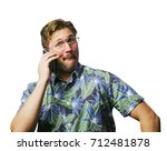 funny retro man with mustache... | Shutterstock . vector #712481878
