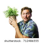 funny retro man with mustache... | Shutterstock . vector #712486555