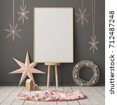 mock up poster in the christmas ... | Shutterstock . vector #712487248