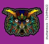 owl in tattoo style. vector. t... | Shutterstock .eps vector #712494622