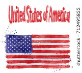 the watercolor flag of the usa...   Shutterstock . vector #712495822