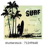 surf grunge scene with surfer... | Shutterstock .eps vector #71249668
