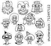 set of doodles of clowns'...   Shutterstock .eps vector #712497112