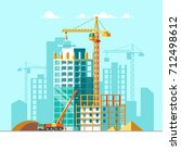 construction of residential... | Shutterstock .eps vector #712498612