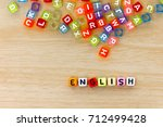 colorful english alphabet cube... | Shutterstock . vector #712499428