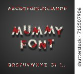mummy bandage font with blood.... | Shutterstock .eps vector #712507906