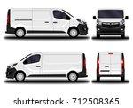 realistic cargo van. front view ... | Shutterstock .eps vector #712508365