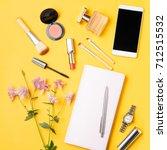 modern woman accessories.... | Shutterstock . vector #712515532