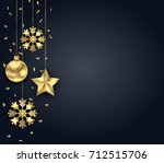 christmas dark background with... | Shutterstock .eps vector #712515706