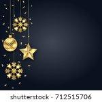 christmas dark background with... | Shutterstock .eps vector #712515706