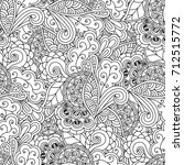 seamless floral pattern doodle...   Shutterstock . vector #712515772