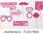 set of printable bachelorette... | Shutterstock .eps vector #712517836