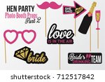 set of hen party photobooth... | Shutterstock .eps vector #712517842