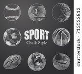 hand drawn sport balls sketches ... | Shutterstock .eps vector #712523812