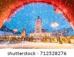 christmas market and...   Shutterstock . vector #712528276