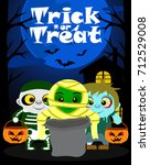 halloween background with kids... | Shutterstock .eps vector #712529008