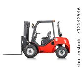 red rough terrain forklift... | Shutterstock . vector #712542946