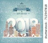 winter urban landscape. city... | Shutterstock .eps vector #712547818