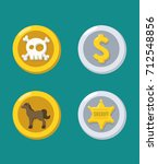 icons of gold and silver coins  ... | Shutterstock .eps vector #712548856
