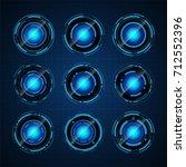 pack of hud circle digital tech ... | Shutterstock .eps vector #712552396