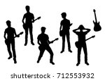 vector silhouettes of teenagers ... | Shutterstock .eps vector #712553932