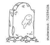 dirty gravestone with stones.... | Shutterstock .eps vector #712554136