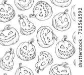 seamless pattern halloween... | Shutterstock .eps vector #712563592