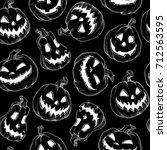 seamless pattern halloween... | Shutterstock .eps vector #712563595