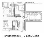 floor plan with furniture in... | Shutterstock .eps vector #712570255
