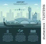airport and transportation... | Shutterstock .eps vector #712573546