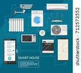 smart home infographic concept... | Shutterstock .eps vector #712573552