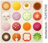 set of food. bun  fried egg... | Shutterstock . vector #712573702
