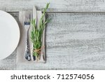 rustic table setting with... | Shutterstock . vector #712574056