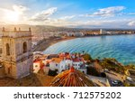 view on peniscola  from the top ... | Shutterstock . vector #712575202
