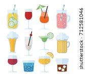 set of alcoholic drinks  wine ... | Shutterstock .eps vector #712581046