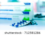 medicine pills or capsules with ... | Shutterstock . vector #712581286