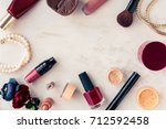 frame with woman makeup beauty... | Shutterstock . vector #712592458
