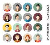 16 avatars  women  and men... | Shutterstock .eps vector #712593226
